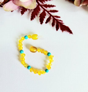 Small Round Raw Honey Natural Baltic Amber with Blue Turquoise Anklet or Bracelet