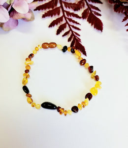 Rainbow Amber Beads- Adult Bracelet or Anklet