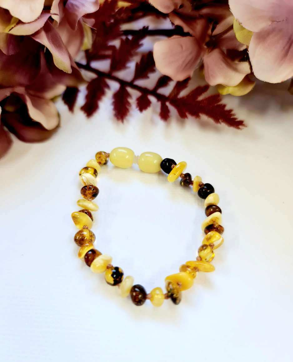 Green Amber with Butterscotch Amber Chip Bead Bracelet or Anklet