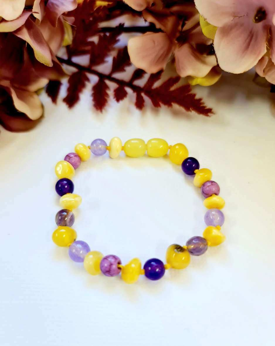 Large Rounded Butterscotch Amber Bead with Amethyst and Purple Turquoise Spacers