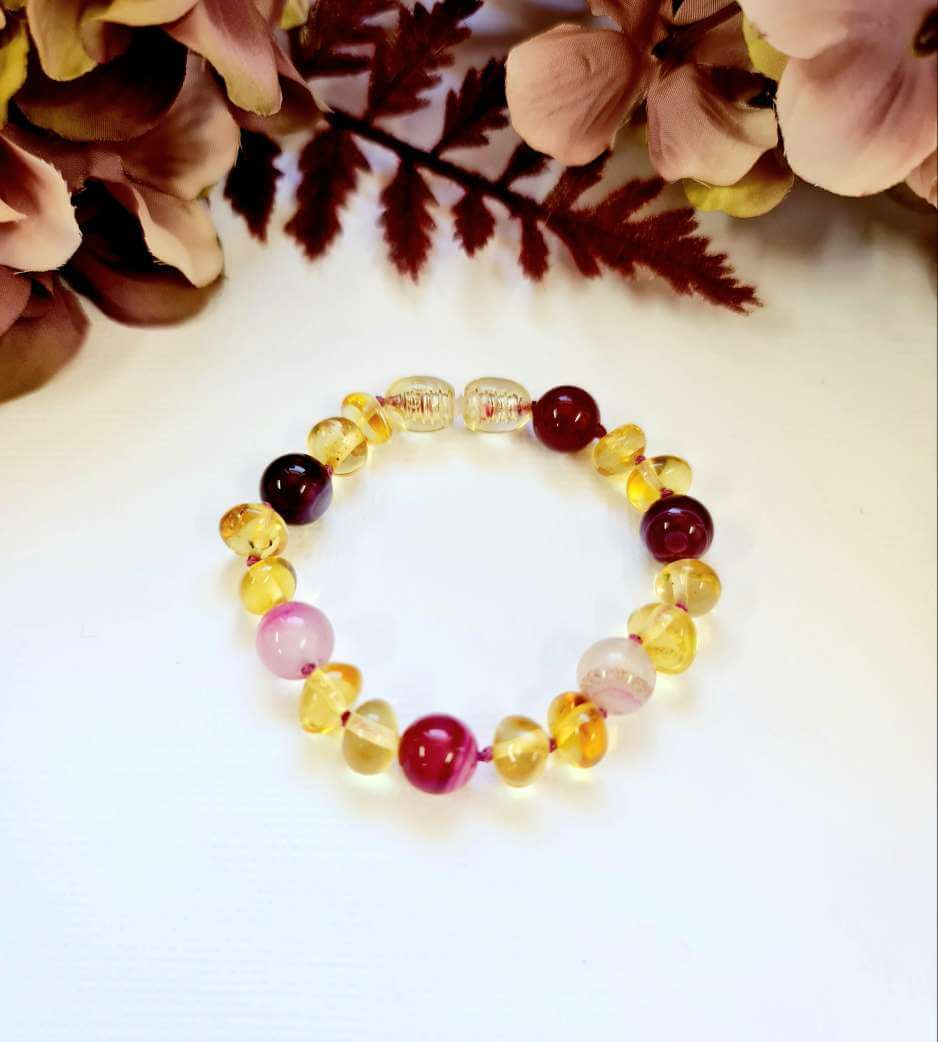 Large Round Shaped Amber Beads with Pink Agate