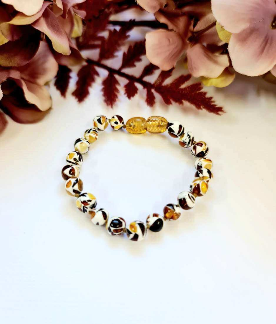 Mosaic Amber Beaded Bracelet or Anklet