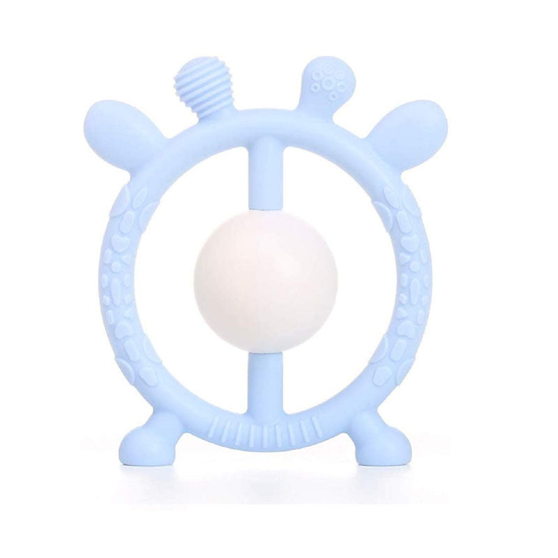 Silicone Toy  - Pastel Blue Deer Rattle Silicone Toy - The Beaded Bub