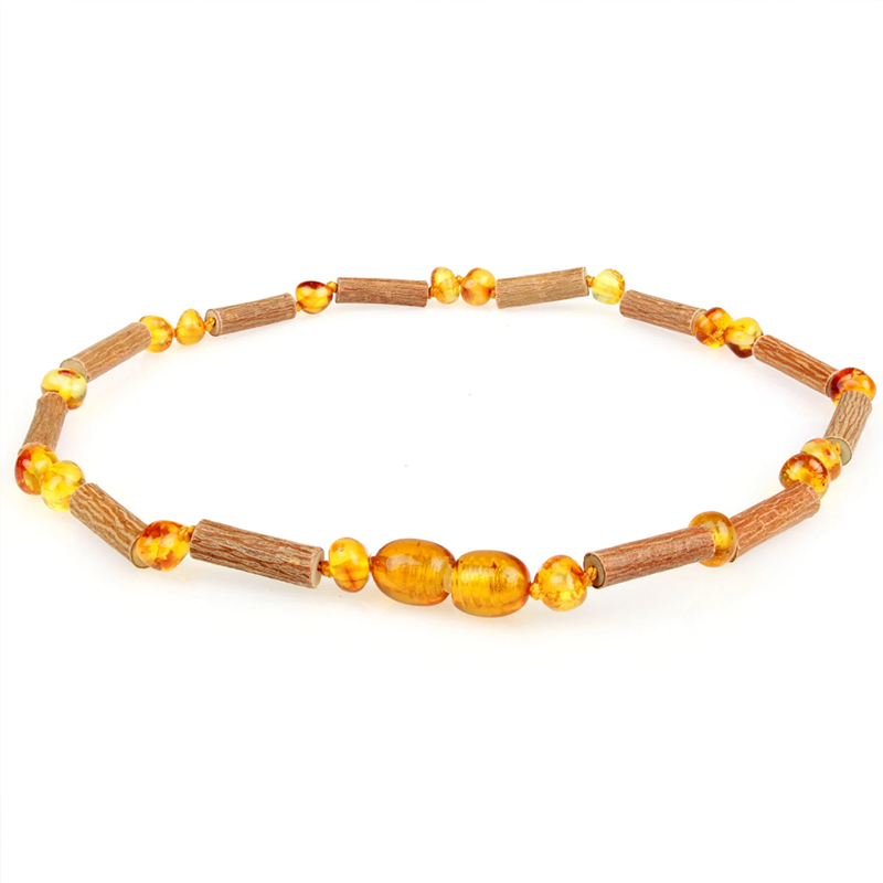 Green Baltic Amber and Hazelwood Necklace - The Beaded Bub