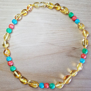 Lemon Baltic Amber Necklace with coloured turquoise beads - The Beaded Bub