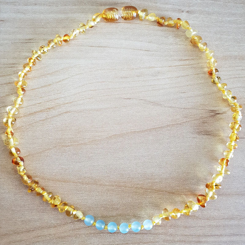 Baltic Honey Amber Necklace with Blue Beads - The Beaded Bub