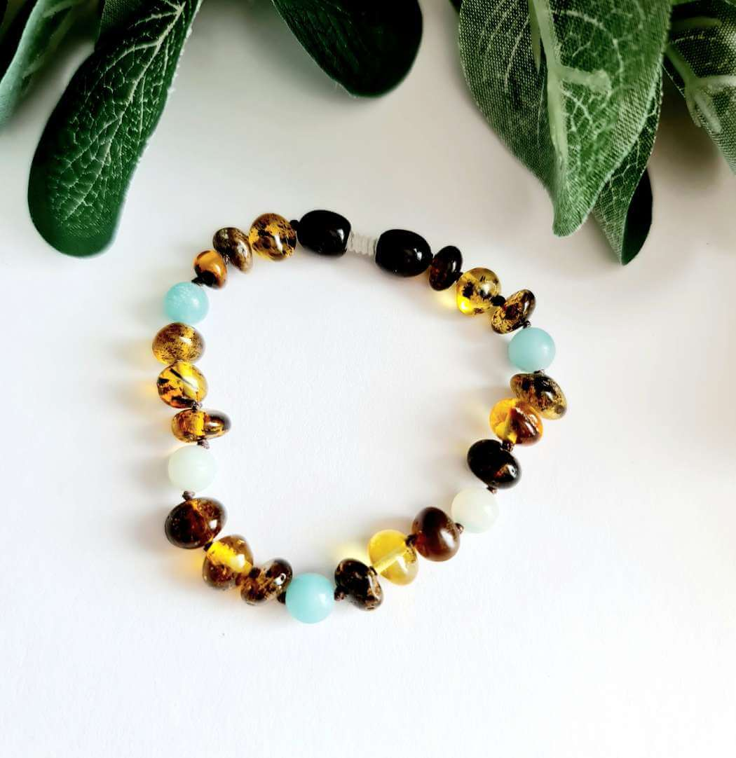Green Amber with Blue Beads Bracelet