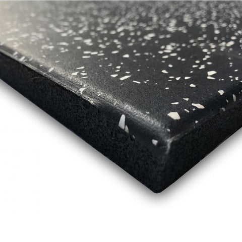 MYO Rubber Black Tile with White Speckle 1000mm x 500mm (20mm or 30mm Thick) - HomeGymSupply.co.uk