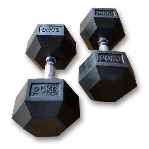MYO Strength Rubber Hex Dumbbells 2.5kg - 30kg - HomeGymSupply.co.uk