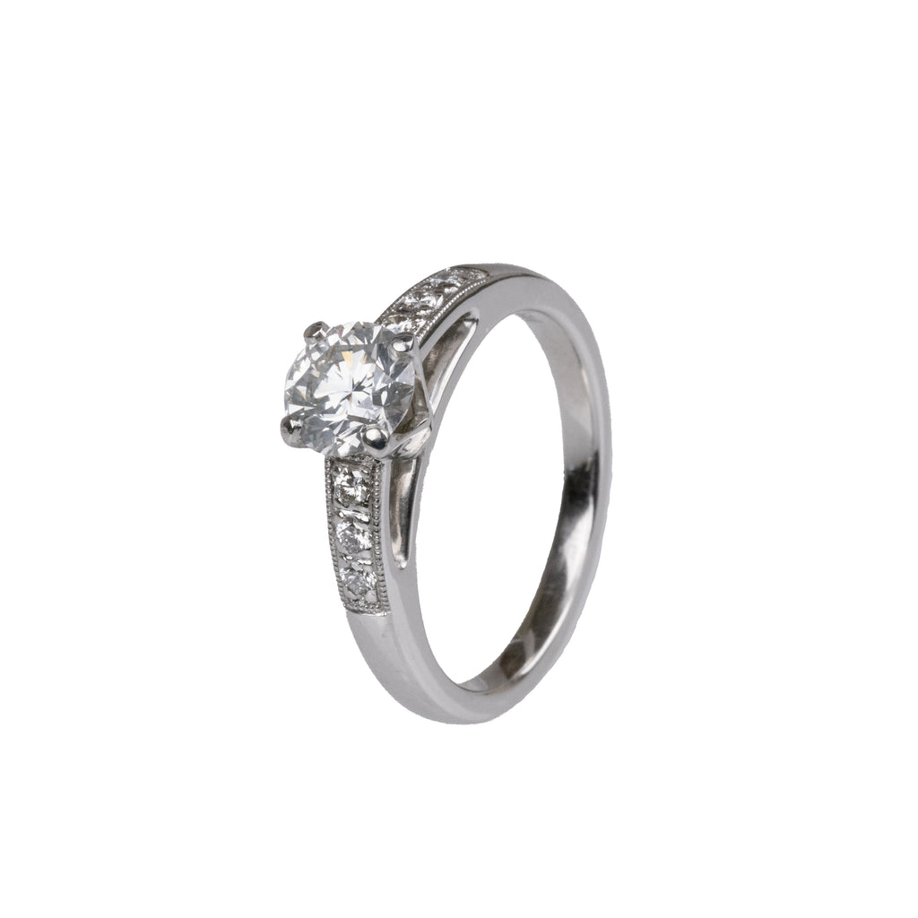 14K White Gold Cathedral Style Diamond Engagement Ring