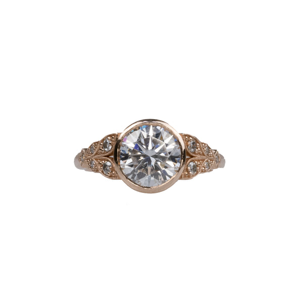 14K Rose Gold Moissanite Engagement Ring