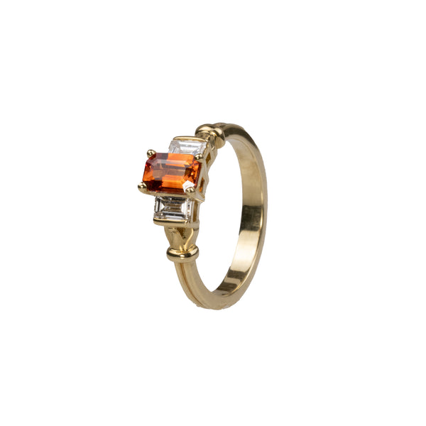 18K Natural Orange Sapphire & Diamond Ring