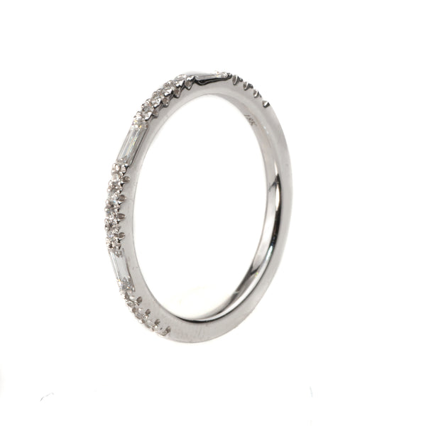 18K White Gold .24 Ct Diamond Stackable Band