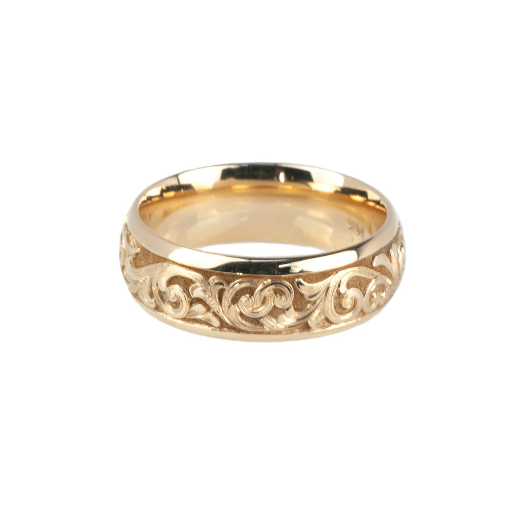 14K Yellow Gold Hand-Carved Gun Scroll Band