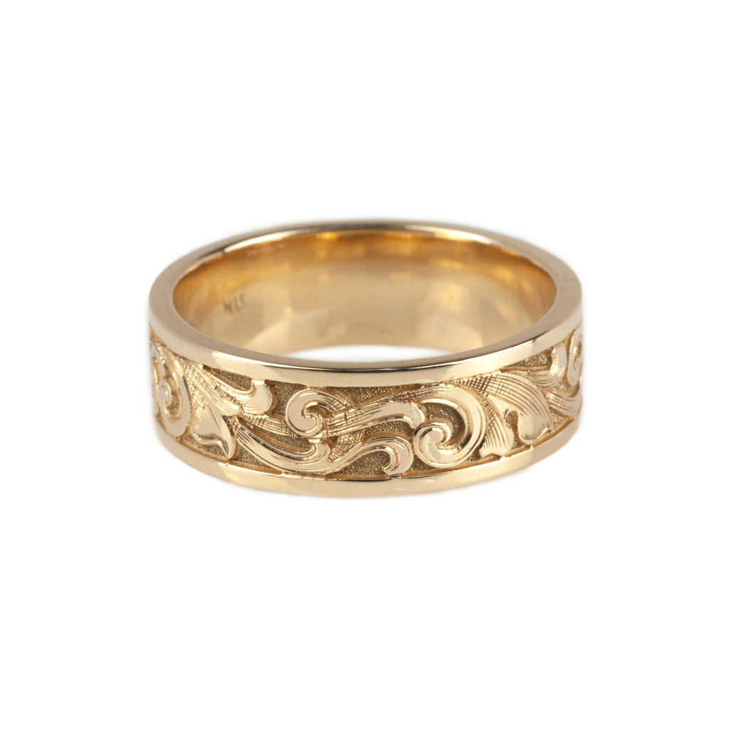 Tom Mathis 14K Yellow Gold Engraved Scroll Band