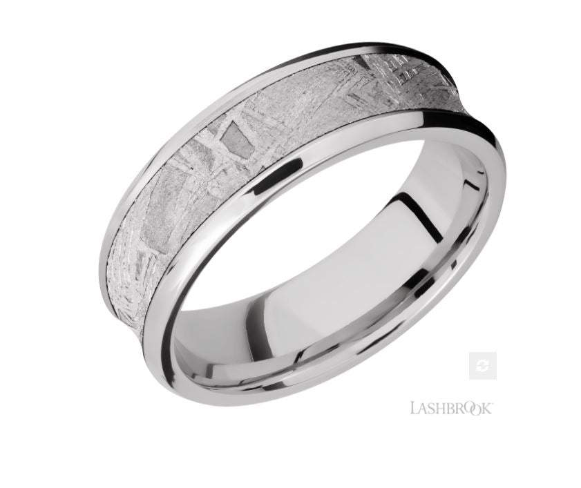 Lashbrook Designs Cobalt Chrome Meteorite Wedding Band