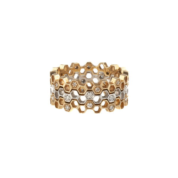 14K Yellow Gold Diamond Honeycomb Band