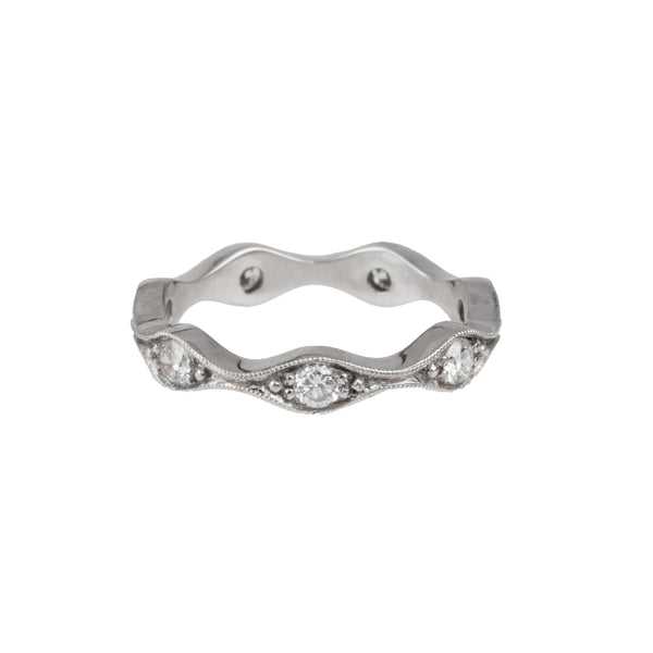 14K White Gold Lab-Created Diamond Band