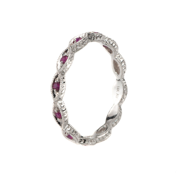 14K White Gold .16 Ct. Ruby Stackable Shapes Band