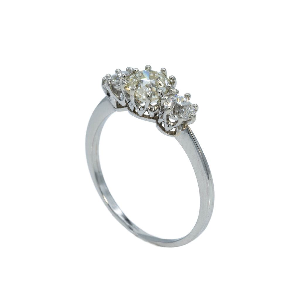 Estate Collection Platinum 1.10CT Diamond Three Stone Ring