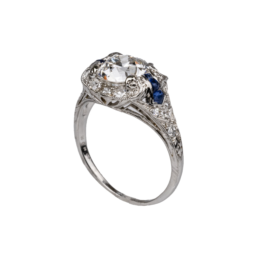 Estate Collection 18k 1.25CT Diamond & Sapphire Ring