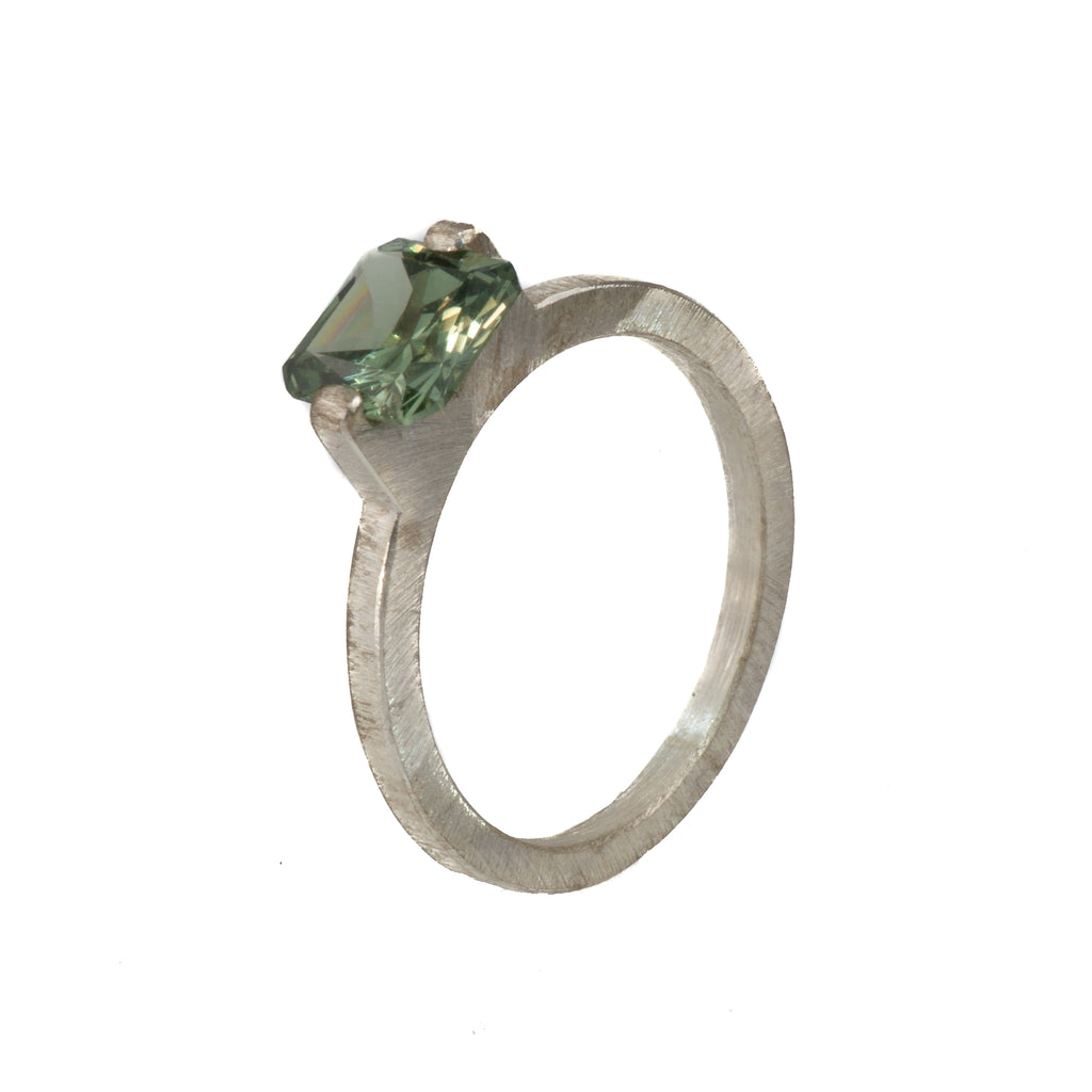 Mysterium Collection Sterling Tension Set Synthetic Green Spinel Ring