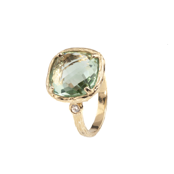 Riverbend Collection Yellow Gold Green Amethyst Ring
