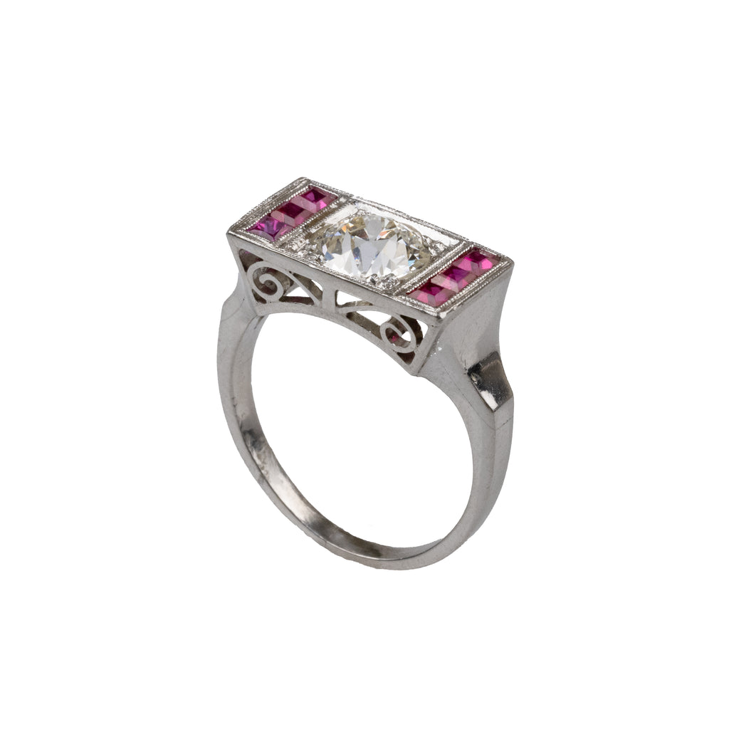 Estate Collection Platinum Deco 1.06CT Diamond & Ruby Ring