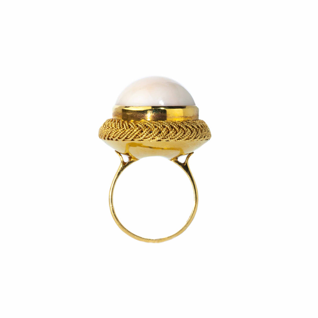 Estate Collection 18K Yellow Gold Coral Ring