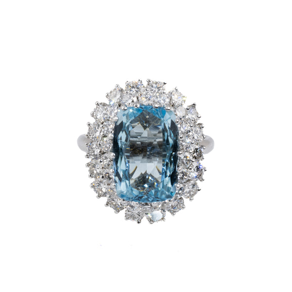 Estate Collection 5.12CT Aquamarine & Diamond Ring