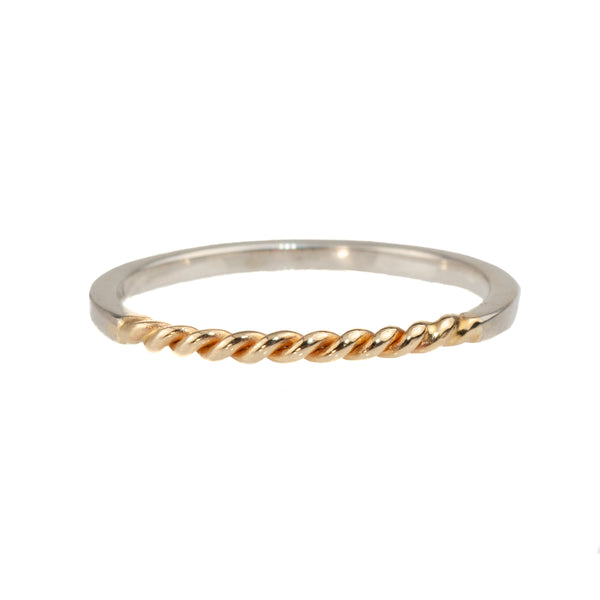 Tim Nelson Designs Sterling & Twisted 14K Yellow Gold Ring