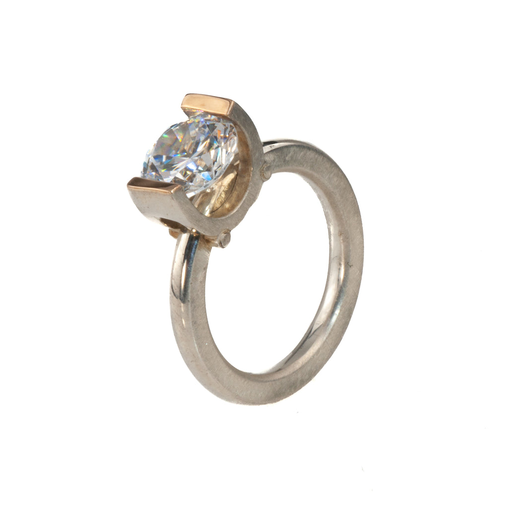 Mysterium Collection Tension Set Cubic Zirconia Ring