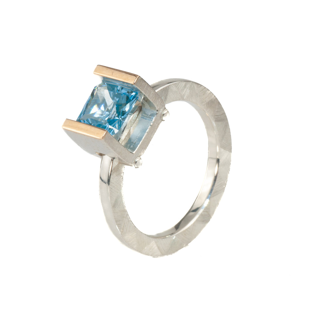 Mysterium Collection Sterling & 14k Swiss Blue Cubic Zirconia Ring