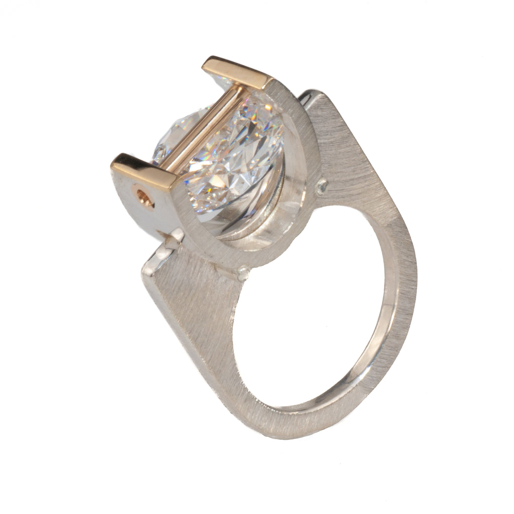 Mysterium Textured Tension Set Cubic Zirconia Ring