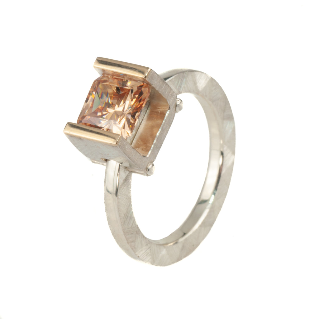 Mysterium Collection Sterling & 14k Champagne Cubic Zirconia Ring