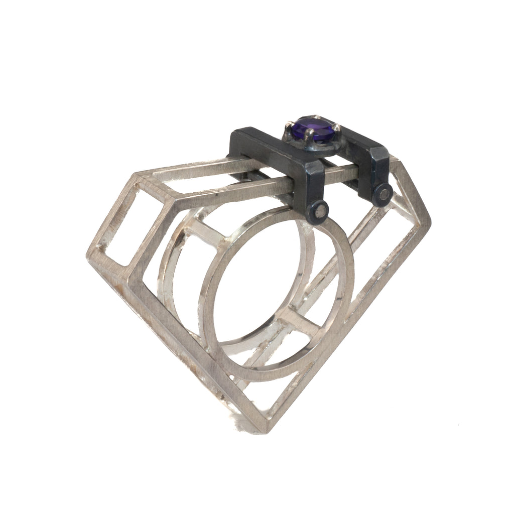 "Mysterium Collection ""Diamond"" Ring with Amethyst"