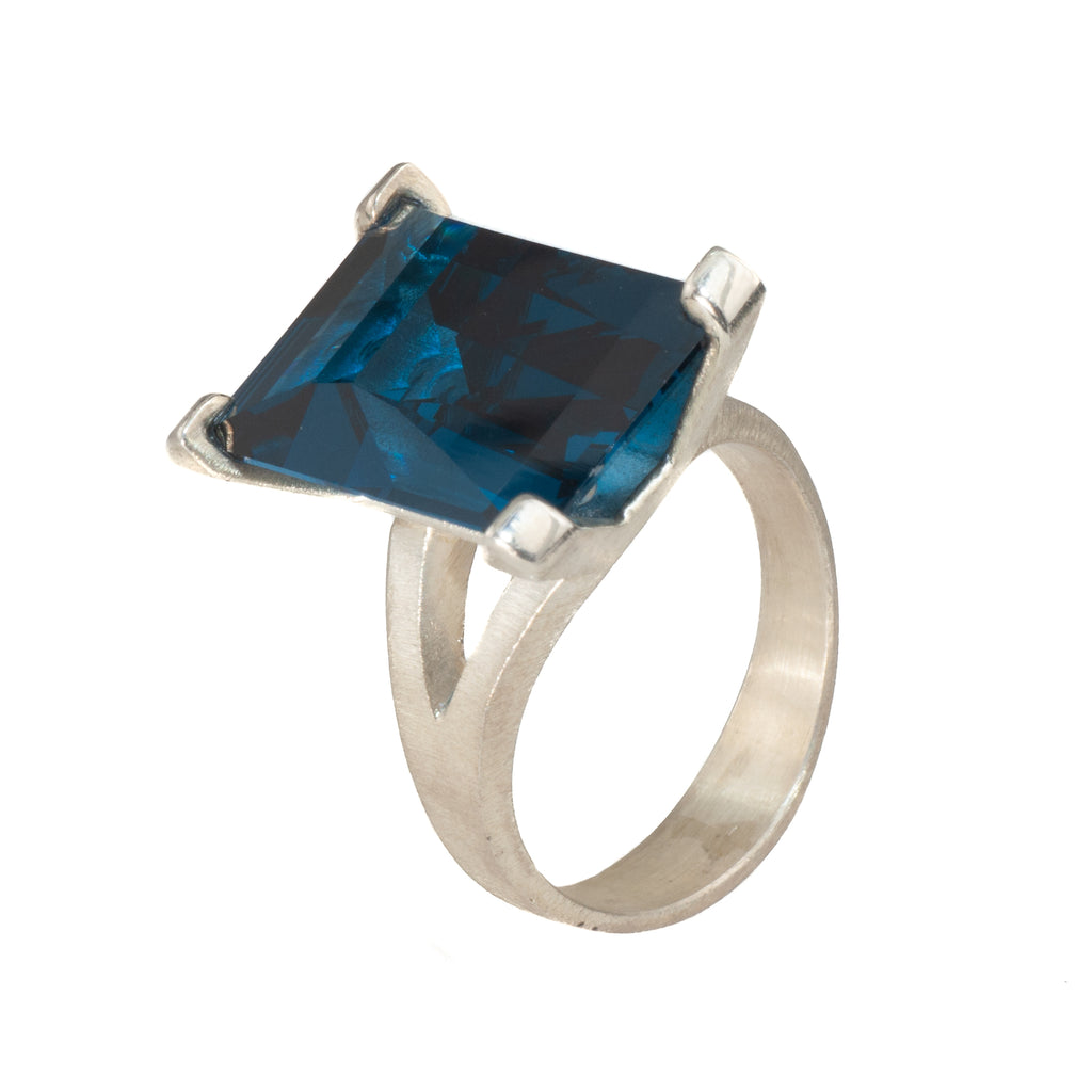 Mysterium Collection Synthetic Blue Green Spinel Cocktail Ring