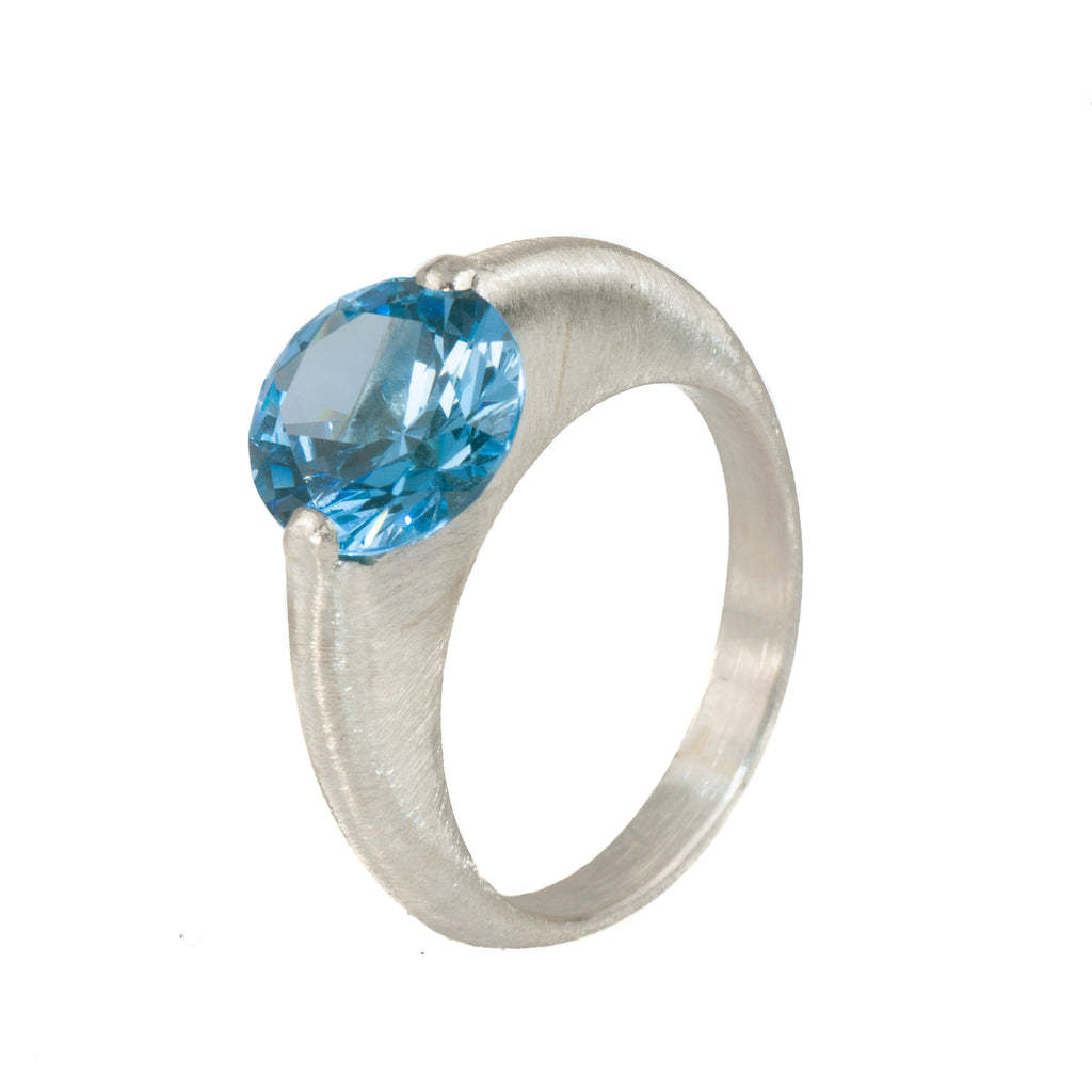 Mysterium Collection Textured Swiss Blue Synthetic Spinel Ring