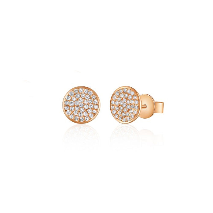 Majolie Collection Rose Gold Diamond Disc Earrings (Sml)