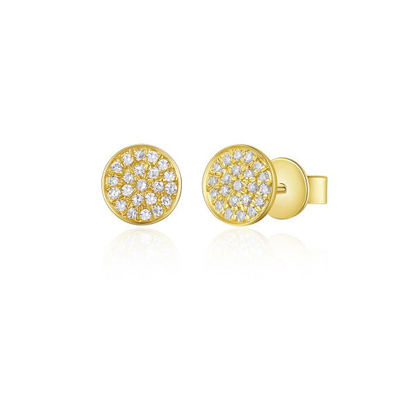 Majolie Collection Yellow Gold Diamond Disc Earrings (Sm)