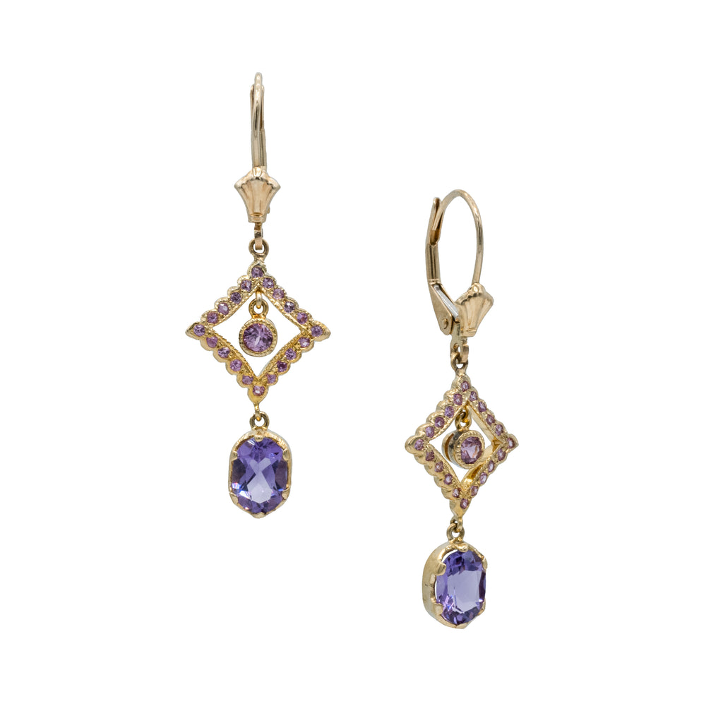 14K Yellow Gold Amethyst & Pink Sapphire Earrings