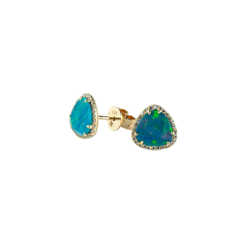"Majolie Collection Yellow Gold ""Triangle Halo"" Opal Earrings"