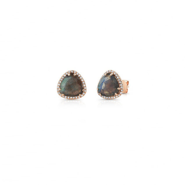 "Majolie Collection Yellow Gold ""Triangle Halo"" Labradorite Earrings"