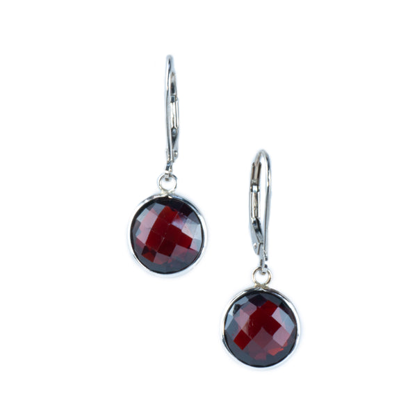 14K White Gold Garnet Earrings