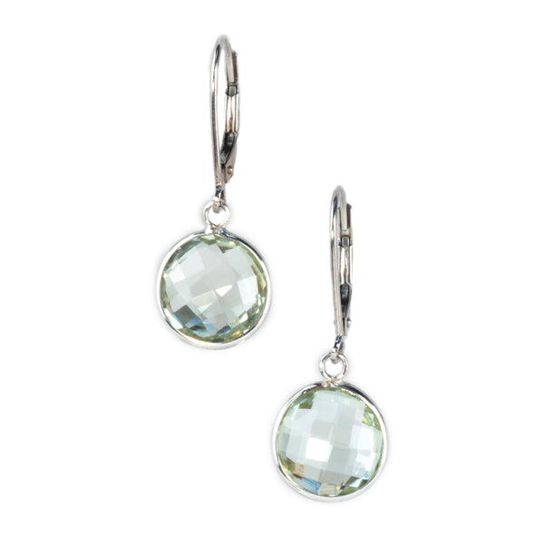14K White Gold Green Amethyst Earrings