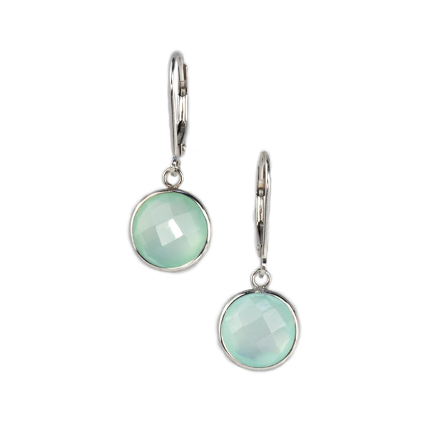 14K White Gold Chalcedony Earrings