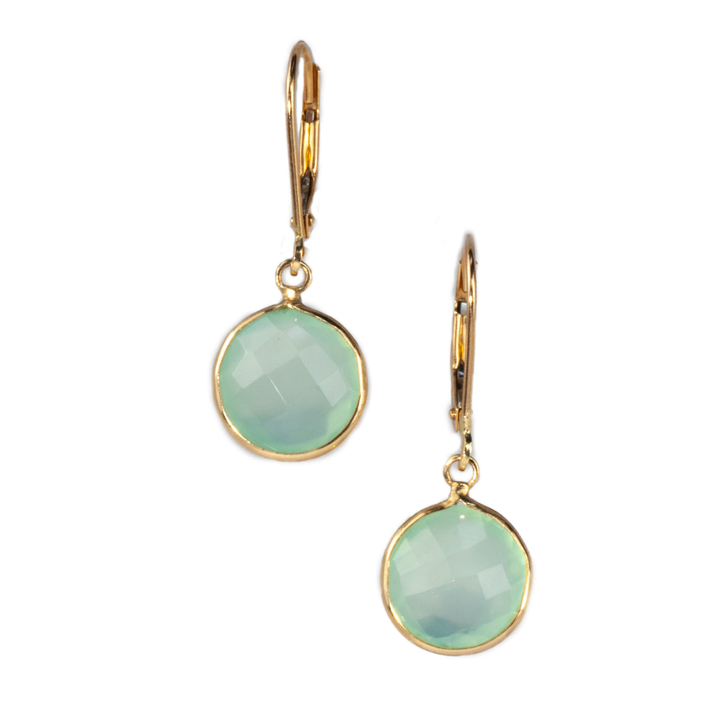14K Yellow Gold Chalcedony Earrings
