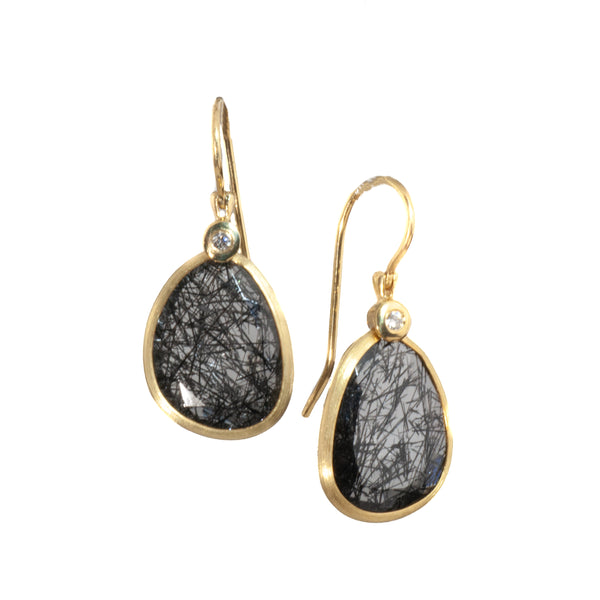 14k Yellow Gold Black Rutilated Quartz Earrings