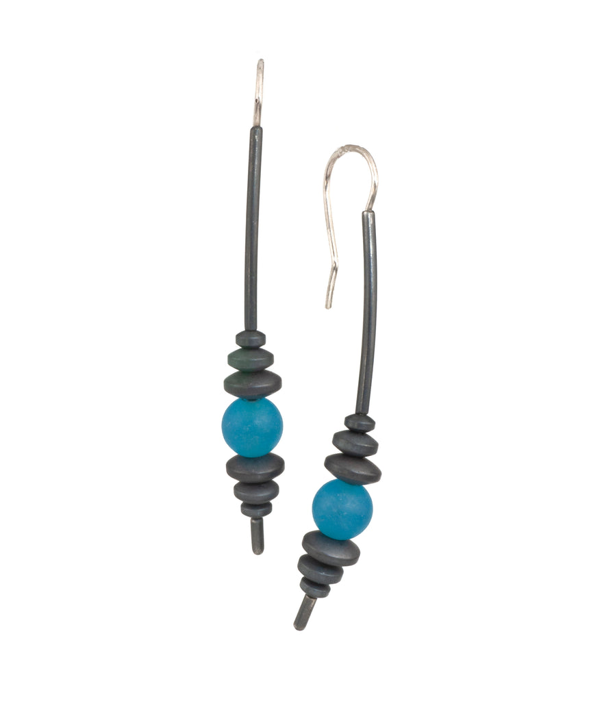 Mysterium Collection Hematite and Blue Jadeite Earrings