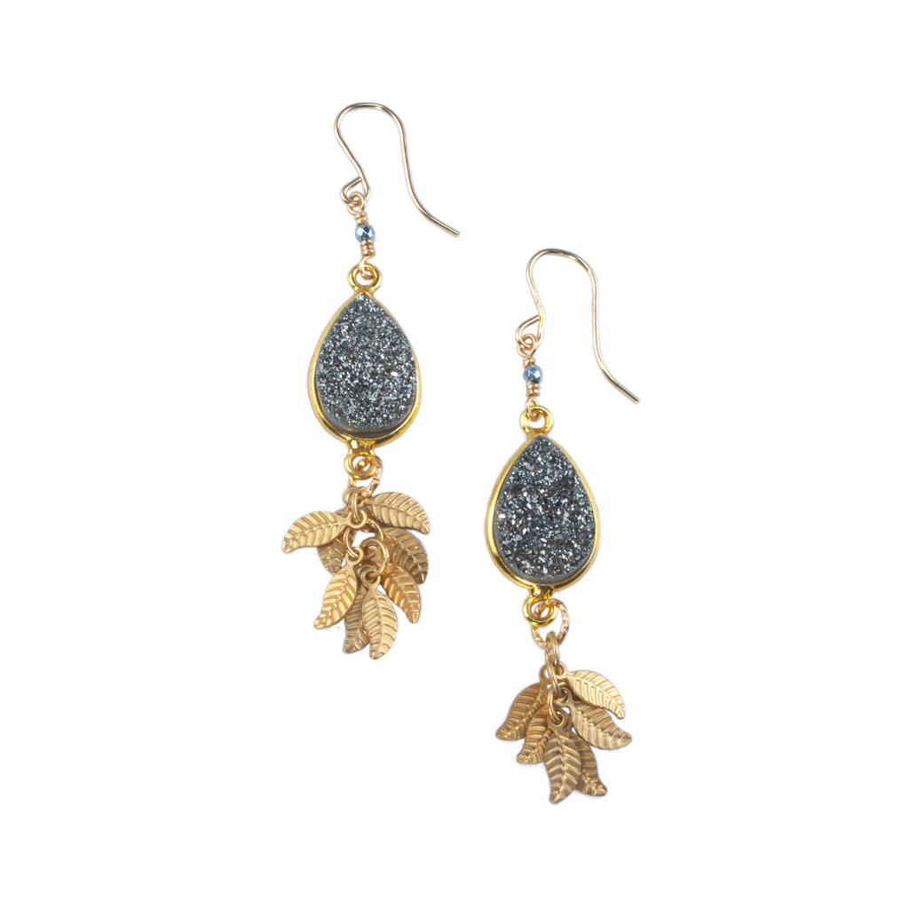 Anna Hollinger Collection Gray Druzy Earrings